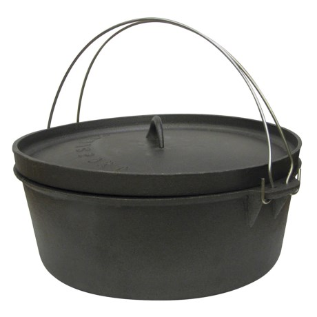 Stansport Cast Iron Dutch Oven without Legs -12 qt. in Black
