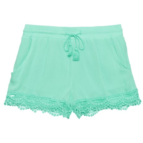 Star Ride Lined Gauze Shorts (For Big Girls) in Mint