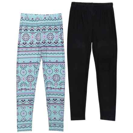 Star Ride Solid and Print Leggings - 2-Pack (For Big Girls) in Baby Blue Print/Blac - Closeouts