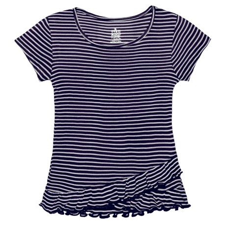 Star Ride Striped Flounce Shirt - Short Sleeve (For Big Girls) in Navy/White Striped