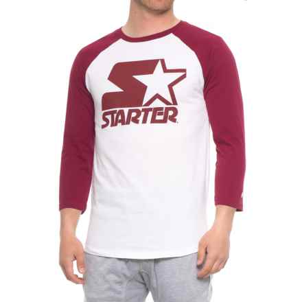 Starter Baseball Graphic T-Shirt - 3/4 Sleeve (For Men) in Burgandy - Closeouts