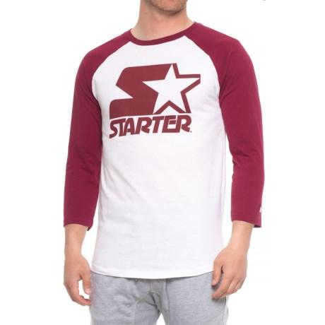 Starter Baseball Graphic T-Shirt - 3/4 Sleeve (For Men) in Burgandy