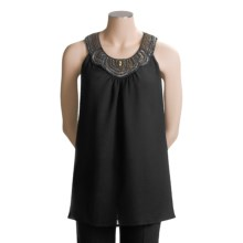 Status by Chenault Pebble Tunic Shirt - Embellished Neckline, Short Sleeve (For Women) in Black - Closeouts