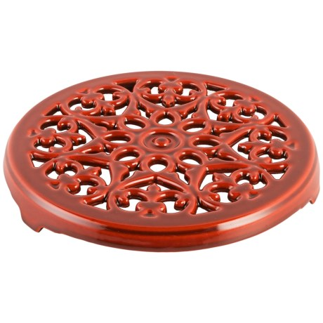 """Staub Cast Iron Lily Trivet - 9"""" in Red"""