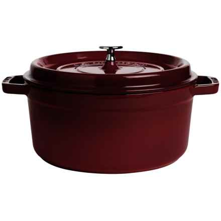 Staub Cast-Iron Round Cocotte with Brass Knob - 5.5 qt. in Grenadine - Closeouts