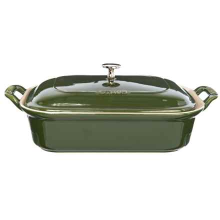 Ceramic Rectangle Covered Baking Dish - 4 qt. in Green - Closeouts