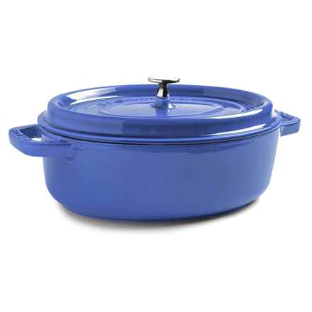Staub Shallow Round Cocotte - Enameled Cast Iron, 4 qt. in Royal Blue - Closeouts