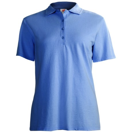 Stedman by Hanes Ring-Spun Cotton Pique Polo Shirt - Short Sleeve (For Women) in Blue
