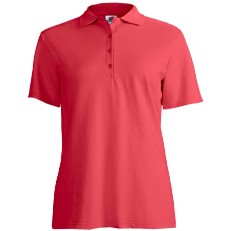 Stedman by Hanes Ring-Spun Cotton Pique Polo Shirt - Short Sleeve (For Women) in Red