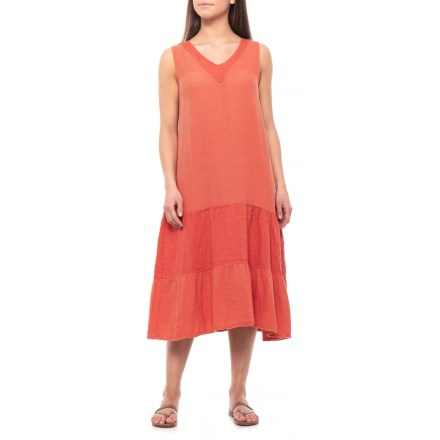 294894ed848 Stella Martini Made in Italy Paprika Linen Tiered Maxi Dress - Sleeveless  (For Women)