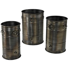 Sterling Industrial Oil Drum Planters - Nested Set of 3 in See Photo - Closeouts