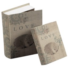Sterling Industries Wooden Love Keepsake Book Boxes - Set of 2 in Cream Linen - Closeouts