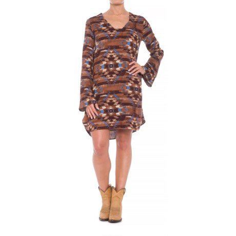 Stetson Aztec Blanket Print Dress - Long Sleeve (For Women) in Brown