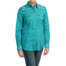 Stetson Aztec Embroidered Western Lawn Shirt - Snap Front, Long Sleeve (For Women) in Blue - Closeouts