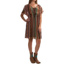 Stetson Aztec Serape Chiffon Dress - Short Sleeve (For Women) in Brown - Overstock