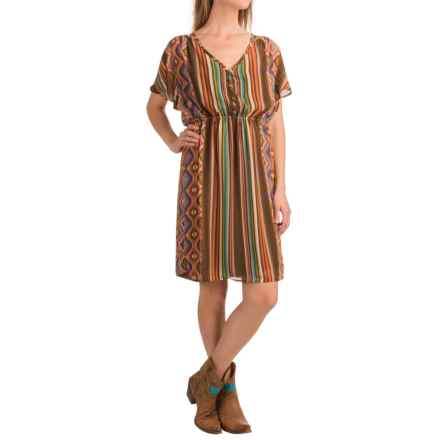 Stetson Aztec Serape Printed Chiffon Dress - Short Sleeve (For Women) in Brown - Closeouts