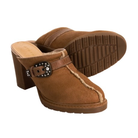 Stetson Bling Buckle Clogs - Shearling  (For Women) in Tan