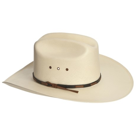 Stetson Cattleman Oval Cowboy Hat - Shantung Straw (For Men and Women) in Natural/Charcoal