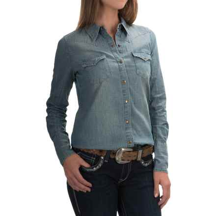 Stetson Chambray Western Shirt - Snap Front, Long Sleeve (For Women) in Blue - Overstock