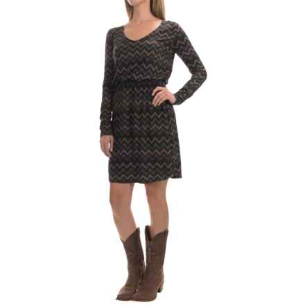 Stetson Chevron-Print Dress - Long Sleeve (For Women) in Brown - Closeouts
