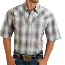 Stetson Classic Summer III Plaid Western Shirt - Snap Front, Short Sleeve (For Men) in Chalk Line Ombre - Closeouts