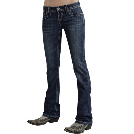 Stetson Contemporary Flap-Pocket Jeans - Low Rise, Bootcut (For Women) in Blue