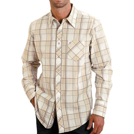 Stetson Dune Plaid Shirt - Snap Front, Long Sleeve (For Men) in Brown
