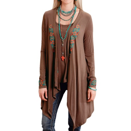 Stetson Embroidered Jersey Kimono Cardigan (For Women) in Brown