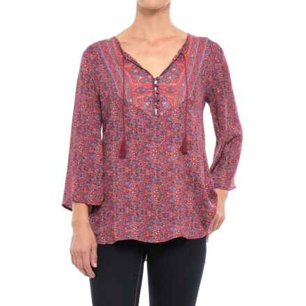 Stetson Floral Border Print Shirt - Long Sleeve (For Women) in Floral - Closeouts