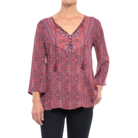 Stetson Floral Border Print Shirt - Long Sleeve (For Women) in Floral