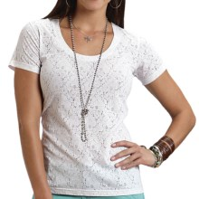 Stetson Floral Lace Burnout T-Shirt - Short Sleeve (For Women) in White - Closeouts