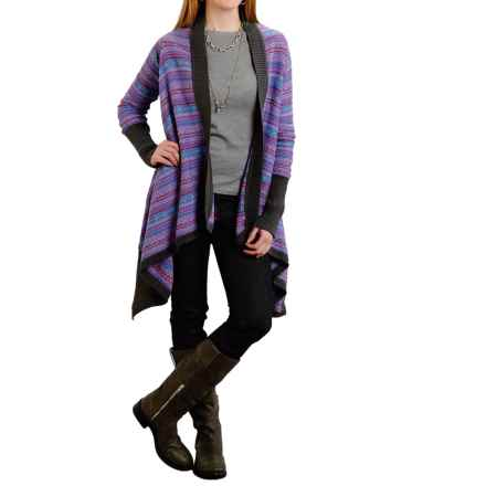 Stetson Flower Intarsia Asymmetrical Cardigan Sweater - Open Front (For Women) in Black - Closeouts