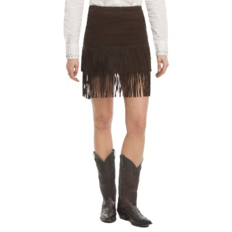Stetson Fringe Lamb Suede Skirt (For Women) in Brown
