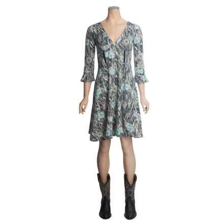 Stetson Grassland Poppy Dress - 3/4 Sleeve (For Women) in Blue - Closeouts