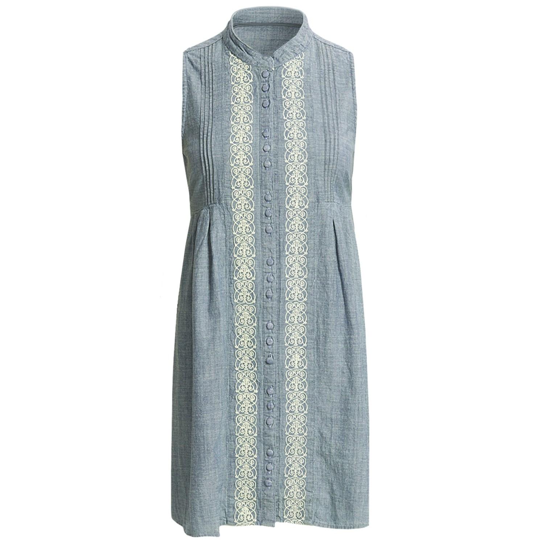 Stetson indigo chambray shirt dress sleeveless for for Sleeveless dress shirt womens