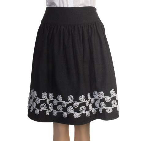 Stetson Lace-Embroidered Skirt - Wool Tweed (For Women) in Grey