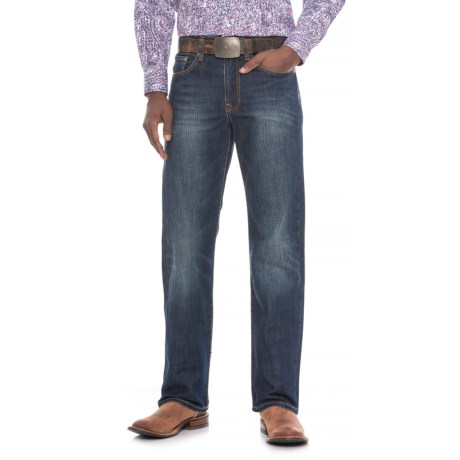 """Stetson Modern Fit Straight-Leg Jeans -  Stitched """"X"""" Pockets (For Men) in Medium Wash"""