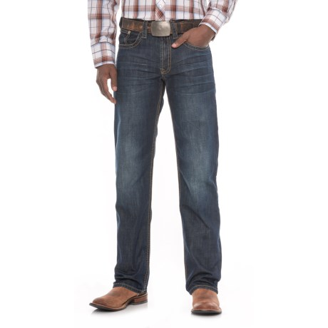 Stetson Modern Straight-Leg Jeans - Stitched Double Arch (For Men) in Dark Wash