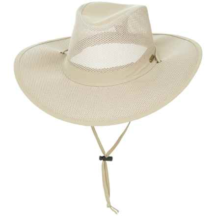 Stetson No Fly Zone Mesh Crown Safari Hat - UPF 50+ (For Men) in Khaki - Closeouts