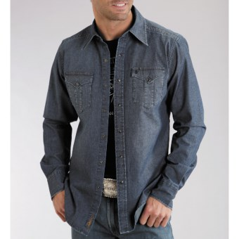 Stetson Original Rugged Denim Shirt - Snap Front, Long Sleeve (For Men) in Blue