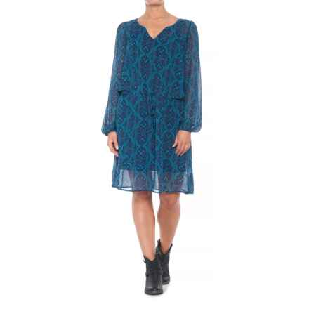 Stetson Ornamental Blues Dress - Long Sleeve (For Women) in Blue - Closeouts
