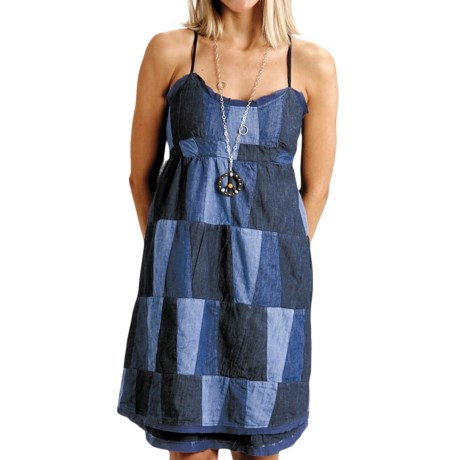 Stetson Patchwork Denim Sun Dress - Sleeveless (For Women) in Blue