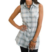 Stetson Plaid Cowgirl Tunic Shirt - Lurex®, Sleeveless (For Women) in Blue - Closeouts