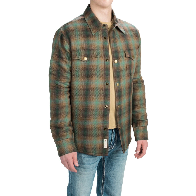 Stetson plaid shirt jacket for men and big men save 77 for Plaid shirt jacket mens