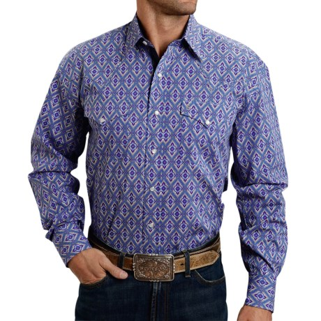 Stetson Printed Poplin Shirt Snap Front, Long Sleeve (For Men)