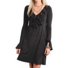 Stetson Ruffled-Neck Dress - Stretch Rayon, Long Sleeve (For Women) in Black - Closeouts
