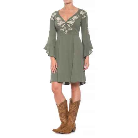 Stetson Ruffled Sleeve Dress - 3/4 Sleeve (For Women) in Olive - Closeouts