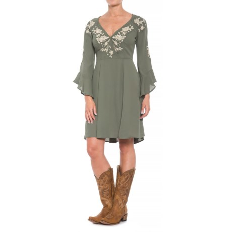 Stetson Ruffled Sleeve Dress - 3/4 Sleeve (For Women) in Olive