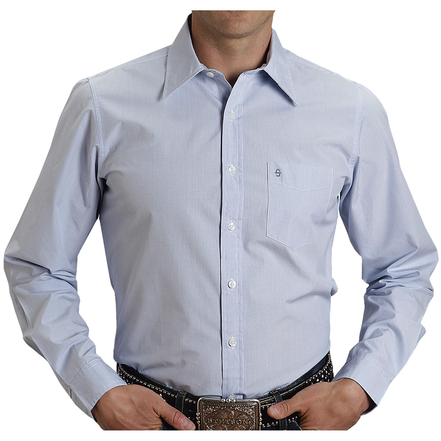 Stetson sanded poplin check shirt button up long sleeve for Nice mens button up shirts