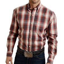 Stetson Satin Stripe Plaid Shirt - Button Front, Long Sleeve (For Men) in Red - Closeouts